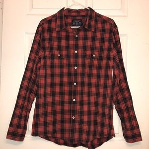 Men's American Eagle Red Plaid Button Down